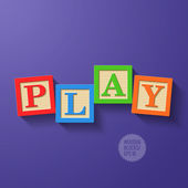 Wooden blocks arranged in the word PLAY — Stock Vector