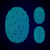 Types of fingerprint patterns — Stock Vector