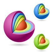 Cutaway sphere — Stock Vector