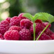A plate full of fresh ripe raspberries with green leaf raspberry — Stock Photo #75956851