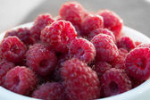 Cup fresh ripe juicy natural raspberry gathered in the garden of — Stock Photo