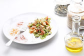 Tofu and vegetables salad. Olive oil, spices, pumpkin and sesame — Fotografia Stock