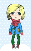 Hand drawn fashion girl with snowflakes — Stock vektor