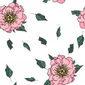Hand drawn seamless pattern with peony flowers — Stock Vector