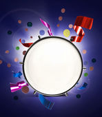 Drum with holiday confetti and ribbons — Stock Photo