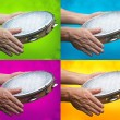 Tambourine in human hands — Stock Photo #69747097