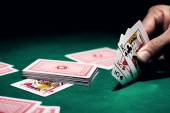 Man's hand with cards — Stock Photo