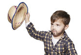 Boy with painted beard and a hat — Stock Photo