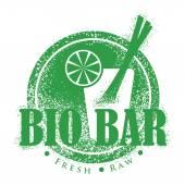 Bio Bar Design Vintage Menu Stamp. Fresh, Vegan Distressed Label — Stock Vector