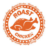 Roasted Chicken Distressed Stamp. Classic Recipe, Organic Meat. — Stock Vector
