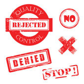 Rejected, Denied, Stop, X, Quality Control DIstressed Red Stamps — Stockvector