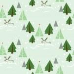 Reindeer in Fir Tree Forest Seamless Pattern — Stock Vector #70840107