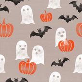 Halloween themed (pumpkins, ghosts, bats) seamless pattern on cardboard paper background. October autumn celebration — Stock Photo