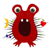 Perplexed cute red baby monster with fruits caught in its spikes. Vector EPS 10 — Stock Vector