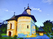 Orthodox church in Romania. Oil painting — Stock Photo
