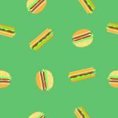 Hamburger and sandwich seamless pattern — Stock Vector