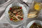 Rabbit with olives — Stock Photo