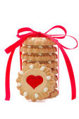 Valentine cookies with red heart and bow — Stock Photo
