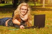 Female student with notebook — Stock Photo