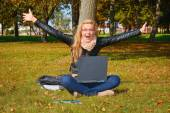 Excited girl in the park — Stock Photo