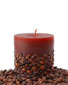Aroma candle decorated with coffee beans — Stock Photo