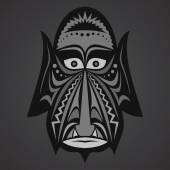 Gray African Mask on a black background — Stock Vector