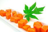 Sweet papaya slice on white ceramic dish bord isolated on white background — Stock Photo