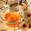 Dried apricots and almonds — Stock Photo #70390389