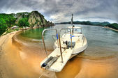 Fish-eye view of boat — Stock Photo