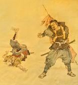 Samurai martial art on old painting — Stock Photo
