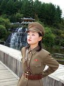 North korean military woman — Stock Photo
