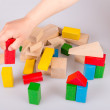 Colorful wooden building blocks — Stock Photo #72706431