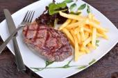 Steak chorizo on white dish — Stock Photo