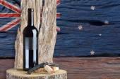 Bottle of wine with Australian flag — Foto de Stock