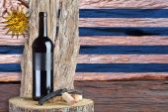 Bottle of wine with Uruguay flag — Stock Photo