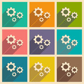 Flat with shadow icon and mobile applacation gears — Vector de stock