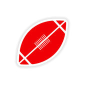 Simgesi etiket gerçekçi tasarım üzerinde kağıt rugby — Stok Vektör