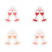 Assembly realistic sticker design on paper wineglasses — Vettoriale Stock