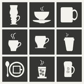 Flat in black and white concept mobile application cofee — Stock Vector