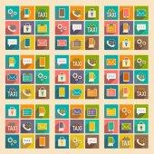 Plochá s stín koncept a ikony služeb mobilních aplikací — Stock vektor