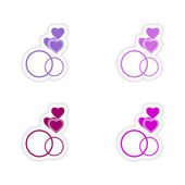 Assembly realistic sticker design on paper hearts rings — Stock Vector