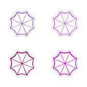 Ассамблея дизайн реалистичные наклейка на бумага зонтик — Cтоковый вектор