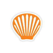 Icon sticker realistic design on paper shell — Stock Vector
