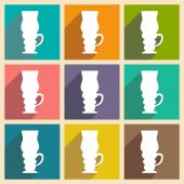 Flat with shadow concept and mobile application coffee cups — Stock Vector