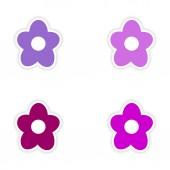 Assembly realistic sticker design on paper flower — Stockvector