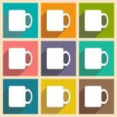 フラット影概念とモバイル アプリケーションのコーヒー カップ — ストックベクタ