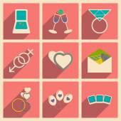 Квартира с тенью концепции и мобильных приложений Иконы венчальные — Cтоковый вектор