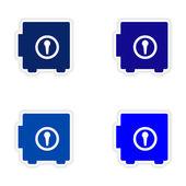 Vergadering realistische sticker ontwerp op papier kluizen — Stockvector
