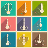 Flat with shadow concept and mobile application hookah shisha — Stock Vector