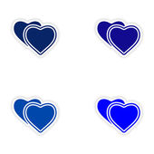 Assembly realistic sticker design on paper hearts love — Stockvector